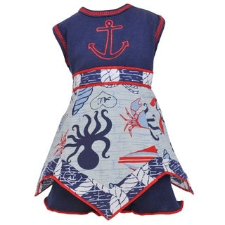 AnnLoren Blue and Red Nautical Hanky 18-inch Doll Clothing Set