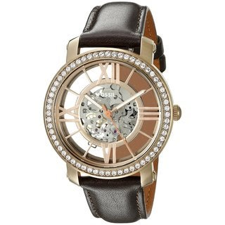 Fossil Women's ME3088 Curiosity Hand-Wound Skeleton Dial Brown Leather Crystal Accented Watch
