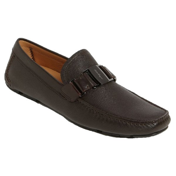 Salvatore Ferragamo Men's Sardegna Brown Pebbled Leather Loafers