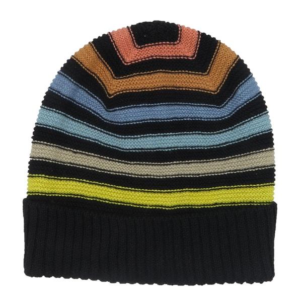 Sonia Rykiel Black Multicolor Stripe Cotton Knit Beanie