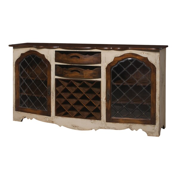 Crossroads Rosa/ Woodlands Dark Finish Credenza with Wine Storage