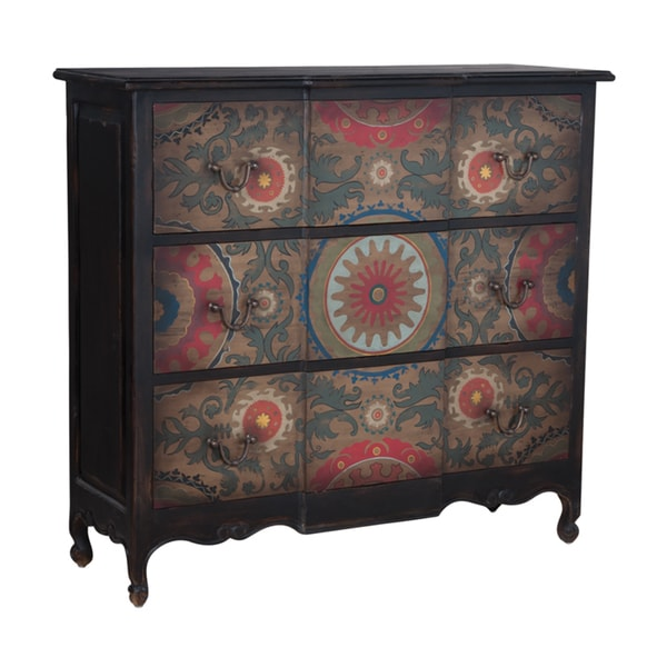 52-inch Ash Black Moroccan Motif 3-drawer Chest
