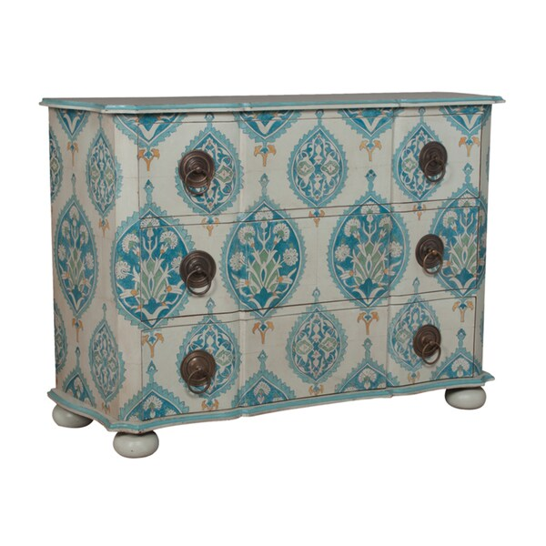 Hand-painted Blue Floral Cartouche Pattern Duchess Chest