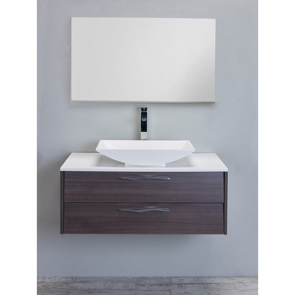 "Eviva Zenvi 39"" Grey Oak Modern Bathroom Vanity Set with Overmount White Acrylic Sink"