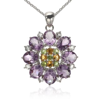 Sterling Silver Amethyst and Multi-gemstone Flower Pendant