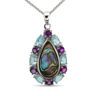Sterling Silver 20x10mm Abalone, Blue Topaz and Amethyst Pendant