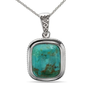 Sterling Silver 17x14mm Turquoise Pendant