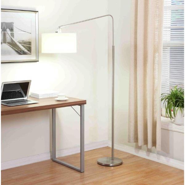 Artiva USA 'The 80-Degrees' 64-Inch Medium Arch Brushed Steel Telescope Reach Floor Lamp with White Shade