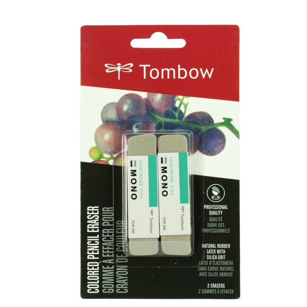 Tombow Colored Pencil Eraser Silica Grit 9 cm x 6.6 cm x 1.7 cm (Pack of 2)