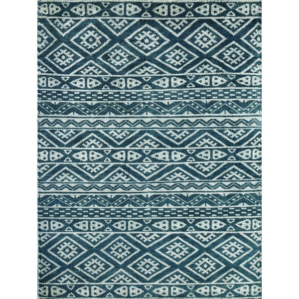 Hope Modern Design Steel Blue Hand-knotted Rug (8'x10')
