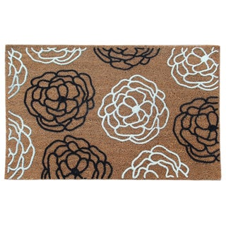 First Impression Magnolia Wildflower Entry Flocked Doormat, Large Size (24 x 36)