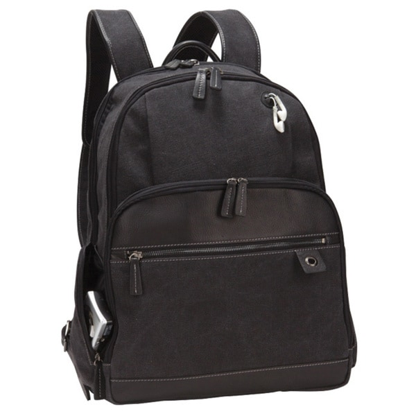 Unisex Vintage Zip Mesh Canvas Leather Laptop Tablet iPad Bellino Backpack
