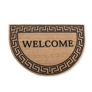 First Impression Half Round Grecian Flocked Entry Doormat, Large Size (24 x 36)