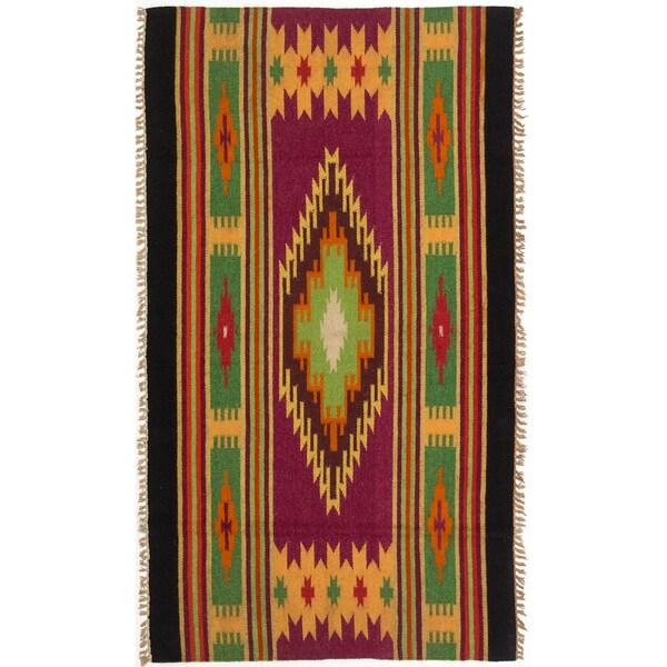 ecarpetgallery Navajo Orange/ Purple Wool Kilim (2'10 x 5'0)