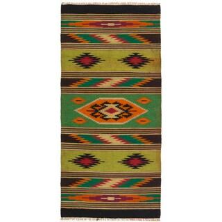 ecarpetgallery Green/ Orange Wool Kilim (2'5 x 5'1)