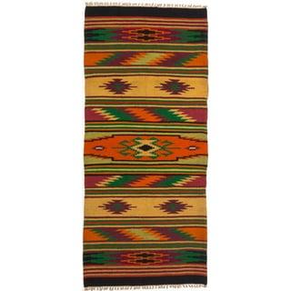 ecarpetgallery Green/ Orange Wool Kilim (2'5 x 5'5)