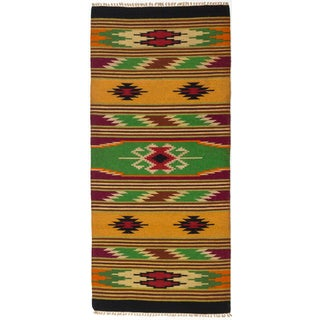 ecarpetgallery Green/ Orange Wool Kilim (2'6 x 5'7)