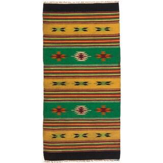 ecarpetgallery Green/ Orange Wool Kilim (2'6 x 5'2)