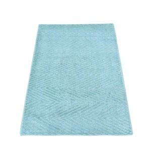 Bamboo Silk Modern Loomed Teal Oriental Rug (2' x 3'2)