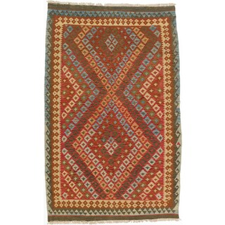 ecarpetgallery Kashkoli Kilim Red/ Yellow Wool Kilim (4'10 x 7'8)