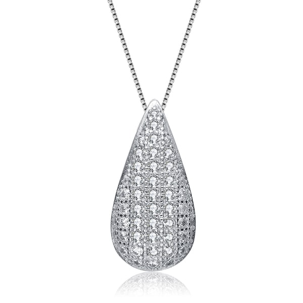 Collette Z Sterling Silver Small White Cubic Zirconia Teardrop Pendant