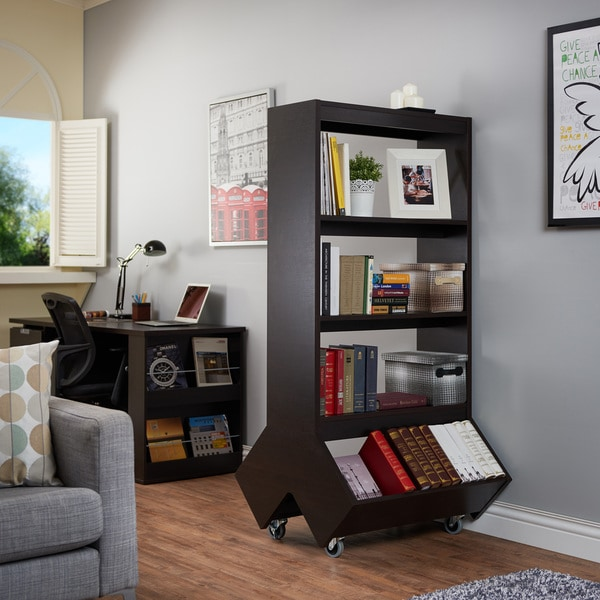 Furniture of america yodell contemporary espresso double for Furniture of america nara contemporary 6 shelf tiered open bookcase