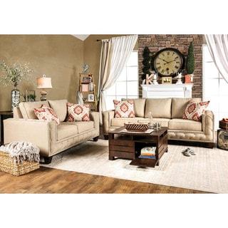 Furniture of America Gina Modern 2-piece Beige Fabric Track Arm Sofa Set