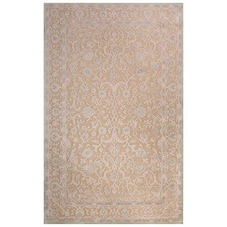 Contemporary Oriental Pattern Tan/Ivory Rayon Chenille Area Rug (5x7.6)