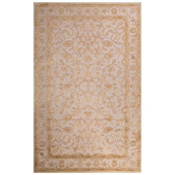 Contemporary Oriental Pattern Ivory Beige Rayon Chenille