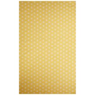 Flatweave Tribal Pattern Yellow/Ivory Cotton Area Rug (5x8)