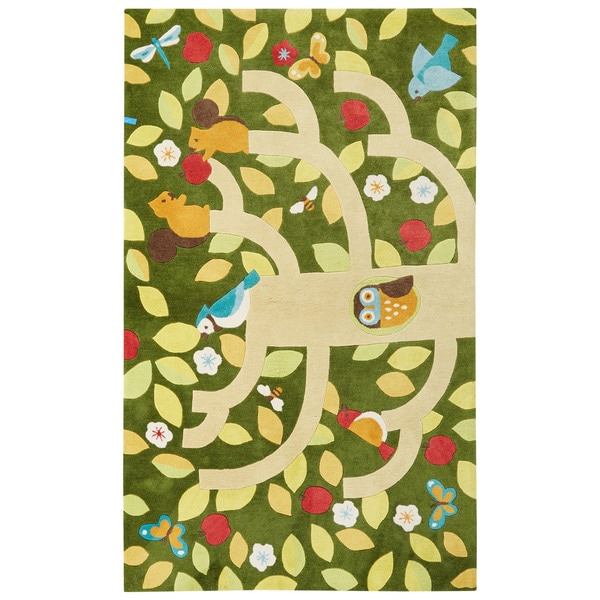 Youth Floral & Leaves Pattern Green/Yellow Polyester Area Rug (5x7.6)