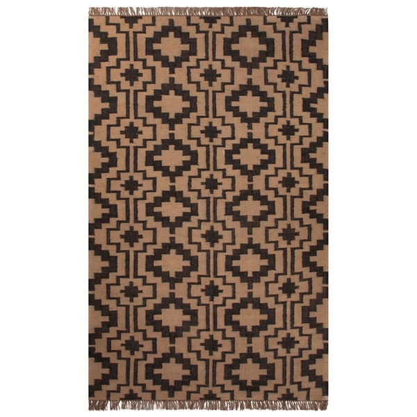 Flatweave Tribal Pattern Black/Tan Jute Area Rug (5x8)