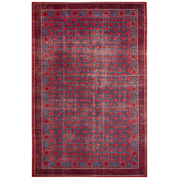 Classic Border Pattern Red/Blue Wool Area Rug (5x8) 17040419
