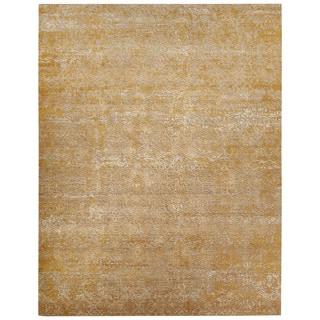 Luxury Oriental Pattern Yellow/Gold Wool and Art Silk Area Rug (9x12)