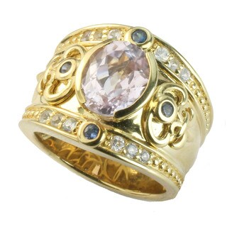 One-of-a-kind Dallas Prince Sterling Silver Kunzite, Blue Sapphire & White Topaz Ring