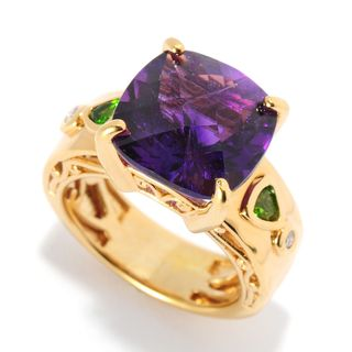 Michael Valitutti Amethyst, Chrome Diopside & Diamond Ring