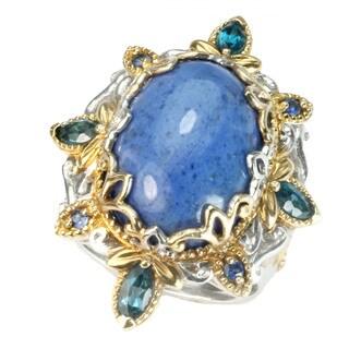 Michael Valitutti Dumortierite, London Blue Topaz & Blue Sapphire Ring