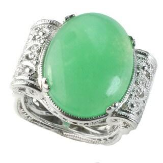 Dallas Prince Silver Apple Green Agate Filigree Ring