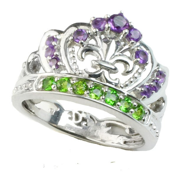 One-of-a-kind Dallas Prince Silver Amethyst & Chrome Diopside Crown Ring