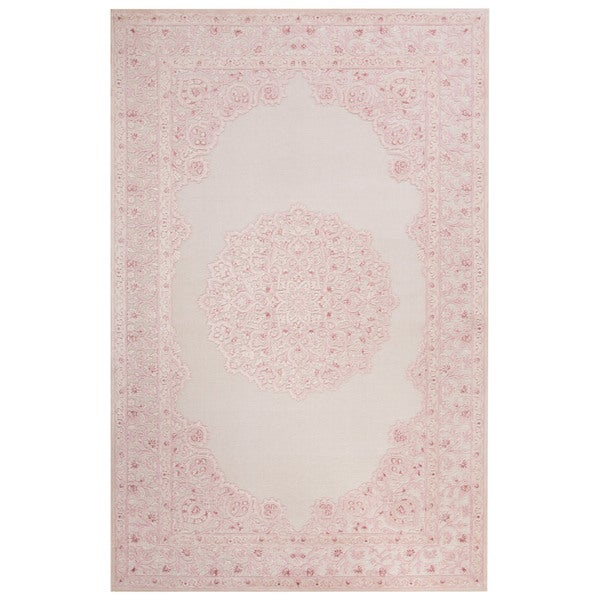 Classic Medallion Pattern Ivory/Pink Rayon Chenille Area