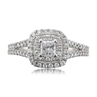 14k White Gold 1ct TDW Certified White Diamond Princess-cut Halo Engagement Ring (H-I, I1)