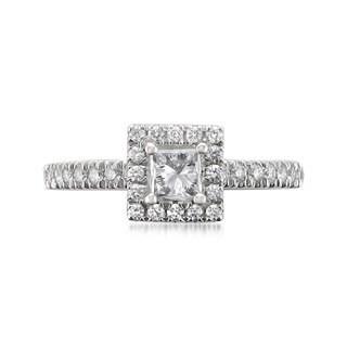 14k White Gold 1ct TDW Certified White Diamond Halo Engagement Ring (H-I, I1)