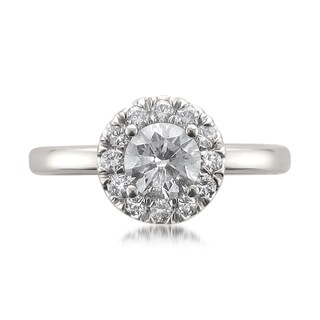 Montebello 14k White Gold 1ct TDW Certified White Diamond Halo Engagement Ring (H-I, I1)