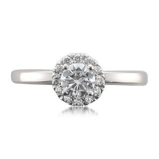 14k White Gold 1/2ct TDW Certified White Diamond Halo Engagement Ring (H-I, I1)
