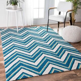 nuLOOM Handmade Modern Indoor/ Outdoor Striped Chevron Blue Rug (8' x 10')