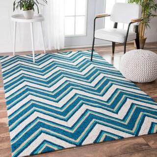 nuLOOM Handmade Modern Indoor/ Outdoor Striped Chevron Blue Rug (5' x 8')