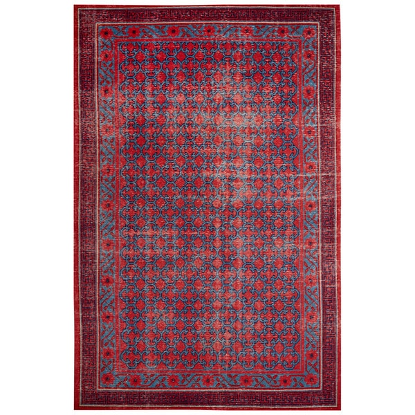 Classic Border Pattern Red/Blue Wool Area Rug (8x10) 17040659