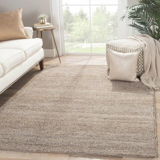 Solids Solids & Heather Pattern Gray Wool and Viscose Area Rug (8x10)