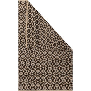 Naturals Tribal Pattern Black/Natural Jute and Polyester Area Rug (8x10)