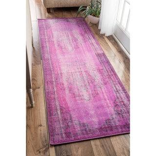 nuLOOM Vintage Inspired Fancy Overdyed Violet Runner Rug (2'8 x 8')